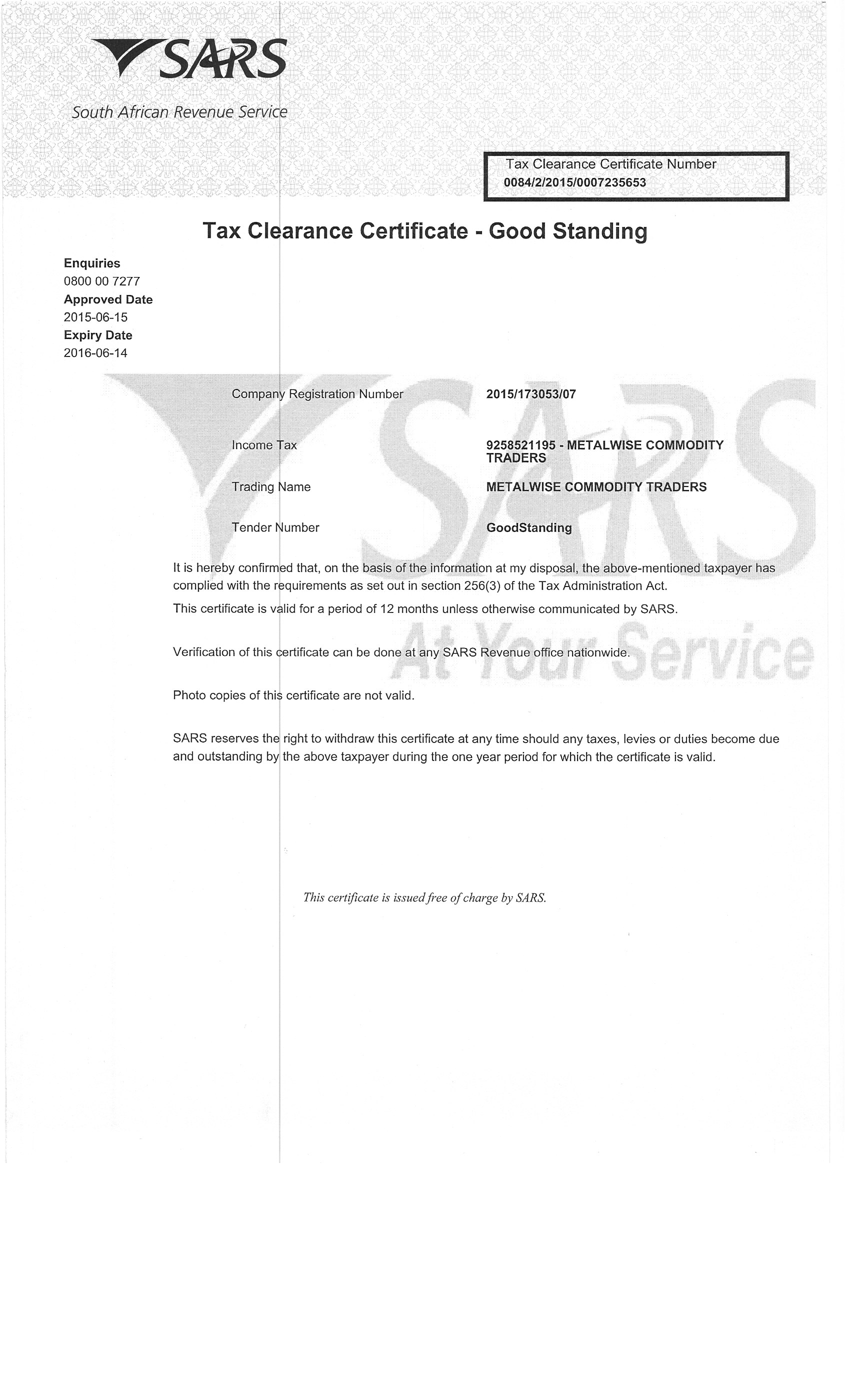 certificate tax clearance commodity sars traders ltd pty